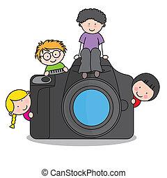 kamera, børn