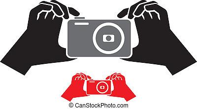 kamera, ikon, hænder
