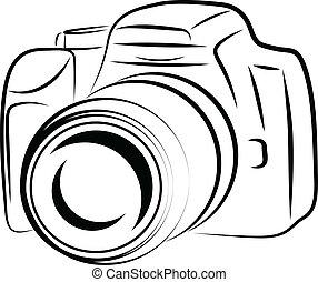 kamera, kontur, affattelseen