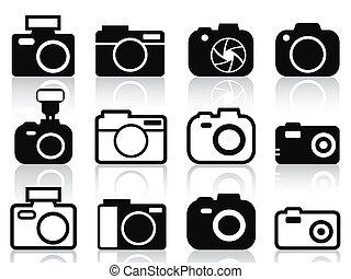 kamera, sæt, iconerne