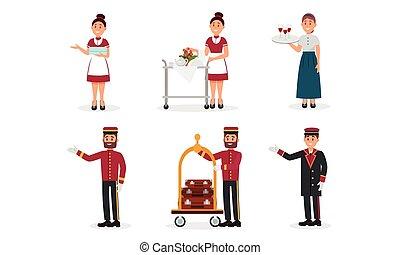 kammer, portner, tjenestepige, hotel, sæt, illustration, vektor, stab