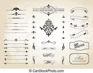 kanter, side, ornamentere, dividers, ornamental, vinhøst