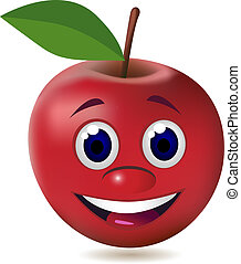 karakter, æble, cartoon