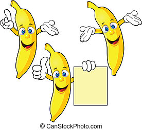 karakter, banan, cartoon