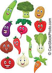 karakter, cartoon, grønsag, cute