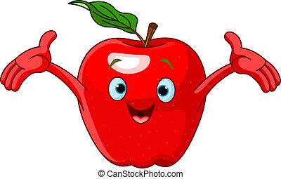 karakter, cartoon, muntre, æble