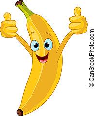 karakter, cartoon, muntre, banan