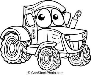 karakter, cartoon, traktor