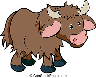 karakter, cartoon, yak, dyr