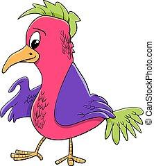 karakter, fugl, illustration, cartoon