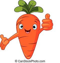 karakter, give, tomat, tommelfingre oppe