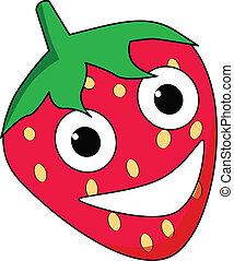 karakter, glade, cartoon, jordbær