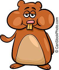 karakter, hamster, illustration, cartoon