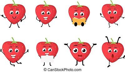 karakter, jordbær, cartoon, glade