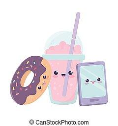 karakter, kawaii, donut, smartphone, cartoon