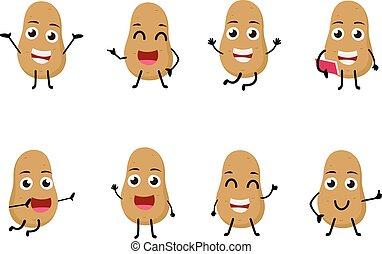 karakter, morsom, cartoon, kartoffel, sæt, grønsag