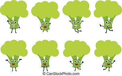 karakter, morsom, cartoon, sæt, grønsag, brocoli