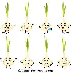 karakter, morsom, cartoon, sæt, hvidløg, grønsag