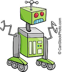 karakter, robot, illustration, cartoon