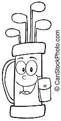 karakter, skitseret, bag, cartoon, golf