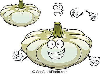 karakter, squash, pattypan, grønsag, hvid, cartoon