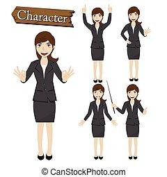 karakter, vektor, businesswoman, sæt, illustration