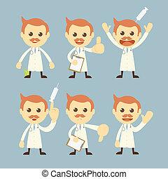 karakter, vektor, sæt, cartoon, doktor