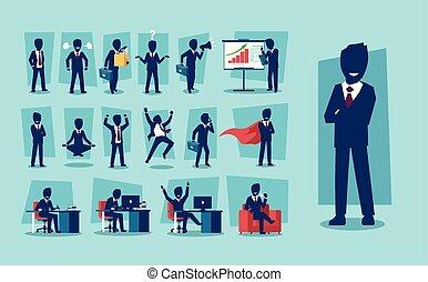 karakter, vektor, sæt, forretningsmand