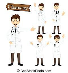 karakter, vektor, sæt, illustration, doktor
