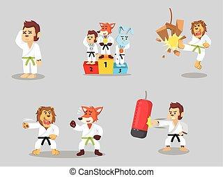 karate, sæt, cartoon, dyr