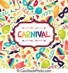 karneval, festlige, iconerne, baggrund, objects., fest