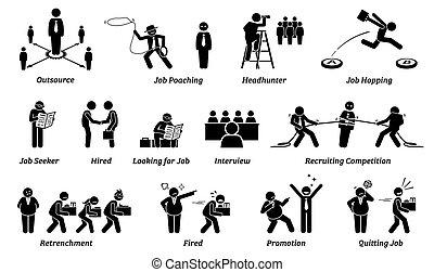 karriere, iconerne, set., arbejde, beskæftigelse