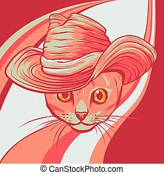 kat, hat, illustration, vektor