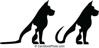kat, komposition, hund
