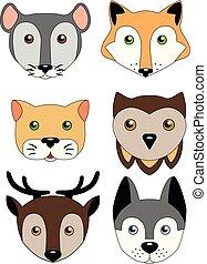 kat, ugle, mus, illustration, dyr, morsom, billederne, vektor, cute, børns, muzzles., rådyr, -, hund, fox., sæt, animals.