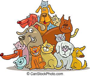 katte, gruppe, hunde