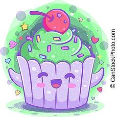 kawaii, cupcake, cartoon, karakter