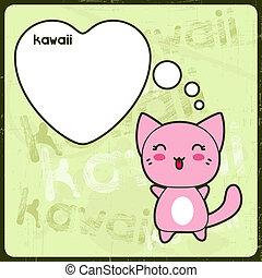 kawaii, cute, grunge, kat, baggrund., card