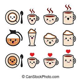 kawaii, cute, kaffe, iconerne