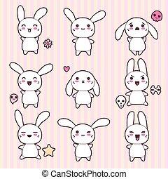 kawaii, cute, kaniner, morsom, samling, glade