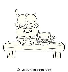 kawaii, cute, liden, karakter, kat, jordbær jam