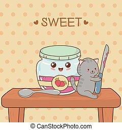 kawaii, cute, liden, pot, karakter, kat, jordbær jam
