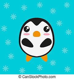 kawaii, cute, penguinm, lejlighed, design.