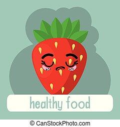 kawaii, frisk frugt, karakter, jordbær