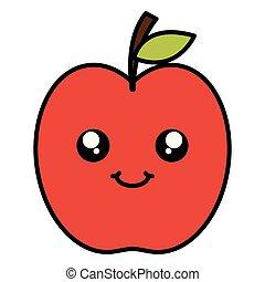 kawaii, frugt, karakter, æble, lækker
