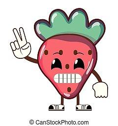 kawaii, humoristiske, frugt, lækker, jordbær