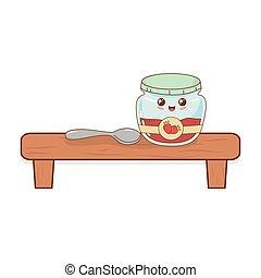 kawaii, hylde, pot, karakter, jordbær jam