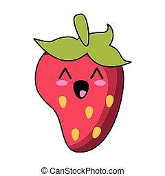 kawaii, jordbær, cartoon