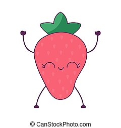 kawaii, jordbær, frugt, karakter