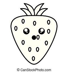 kawaii, jordbær, frugt, karakter, lækker